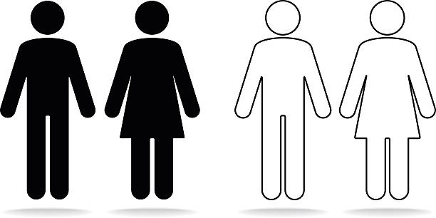 Woman and man icons Woman and man icons. PDF file included. bathroom symbols stock illustrations