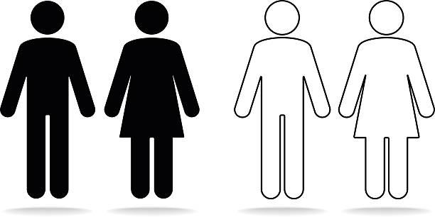 illustrazioni stock, clip art, cartoni animati e icone di tendenza di donna e uomo di icone - bagno