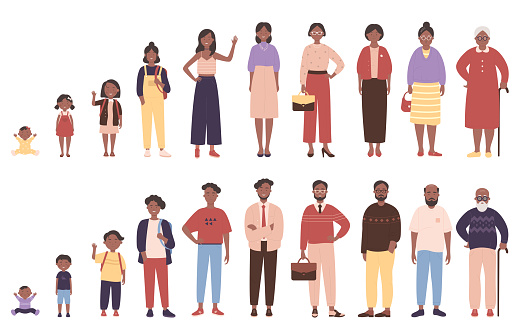 Woman and man in different ages vector illustration