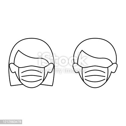 Woman and man in medical mask icon isolated. Concept global qurantine.