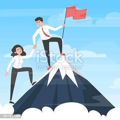 istock Woman and man in suit on top of the mountain 1311637365