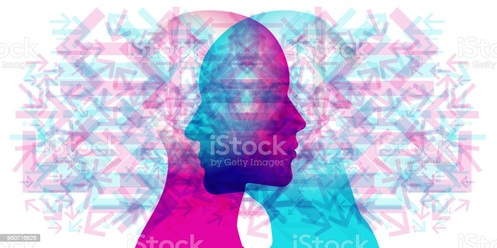 Woman and Man Multi Directional Thoughts vector art illustration