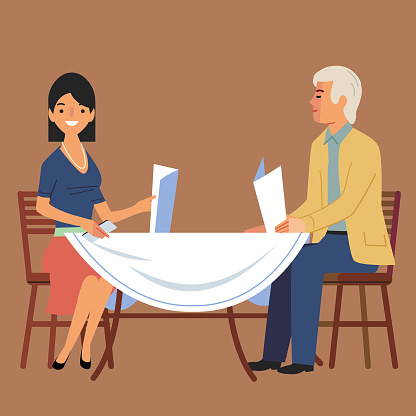 Woman and man on a restuarant dinner date