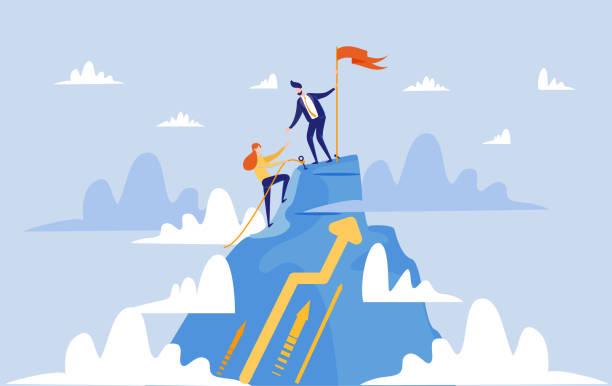 ilustraciones, imágenes clip art, dibujos animados e iconos de stock de mujer y hombre en su camino hasta el éxito como equipo - mountain top