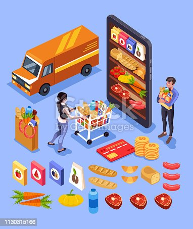 Woman and man people characters making online food order by internet smartphone. Online shopping goods e commerce icon set. Vector flat cartoon graphic design isometry