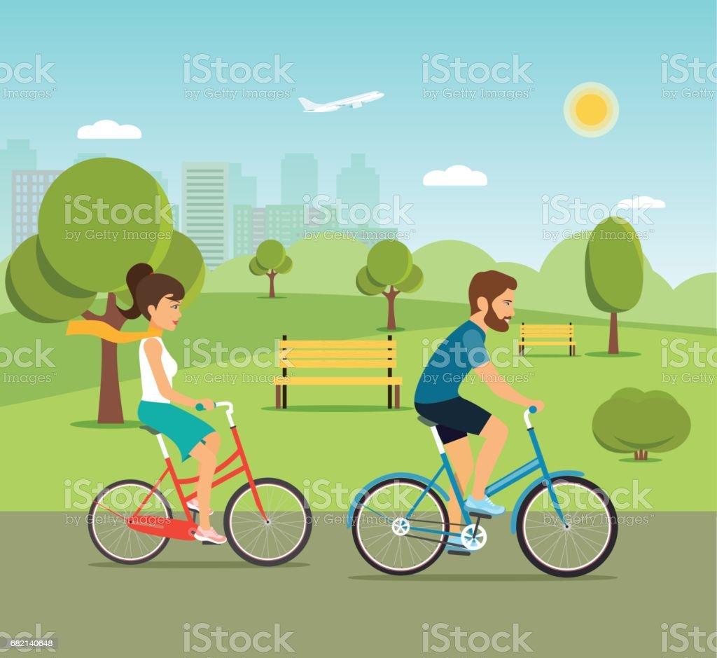 Woman and man ride the bike in the park. Flat vector illustration - ilustração de arte em vetor
