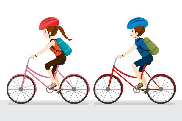 Woman And Man Riding Bicycle vector art illustration