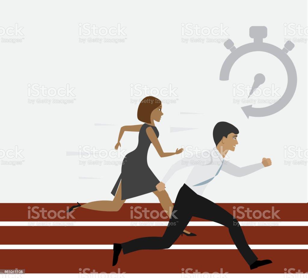 Woman and man running vector art illustration