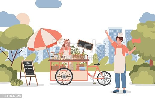 istock Woman and man selling coffee and other beverages in city park vector flat illustration. Street food concept. 1311697356