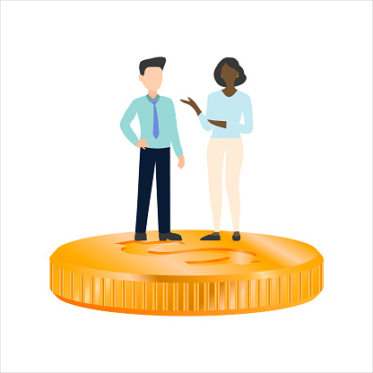 woman and man standing on a coin, a businessman has more than a businesswoman. Flat vector.