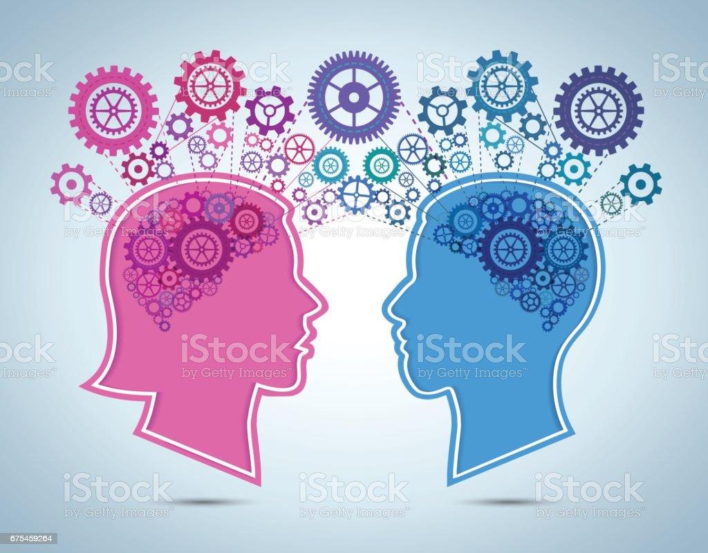 Concept de télépathie de femme et homme concept de télépathie de femme et homme – cliparts vectoriels et plus d'images de adulte libre de droits