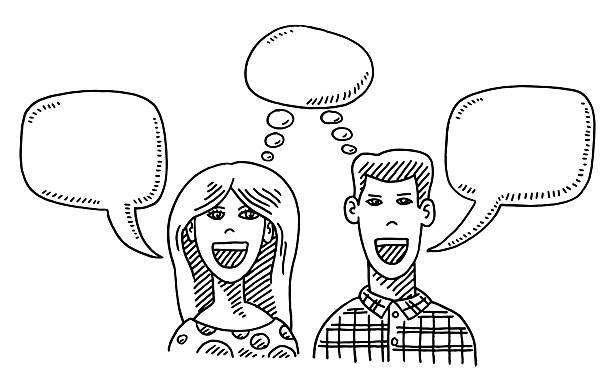Woman And Man Thinking And Talking Drawing Hand-drawn vector drawing of a Woman And a Man Thinking And Talking. Front View of a young Couple with Speech Bubbles and a Thought Bubble. Black-and-White sketch on a transparent background (.eps-file). Included files are EPS (v10) and Hi-Res JPG. women stock illustrations