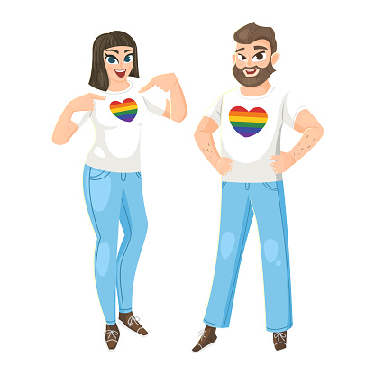 Woman and Man wearing t-shirt with hearts LGBT flag colors. Vector illustration