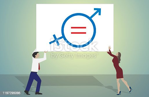 Woman and man with a symbol for gender equality.