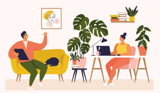 Woman and man working at desk and on sofa from home. Couple have a lot of work. Woman working with laptop at her work desk and testing ui and ux. Vector illustration of student studying at home. vector art illustration
