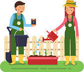 Woman and man working in garden. Different tools for farming and gardening. Vector characters in flat style. Woman farmer character, gardener work garden illustration