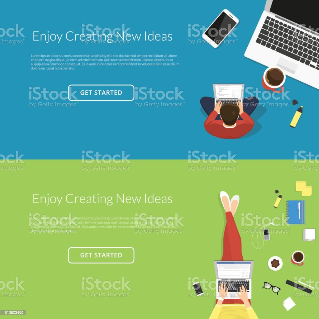 Mujer y hombre trabajando con el ordenador portátil de escritorio - ilustración de arte vectorial