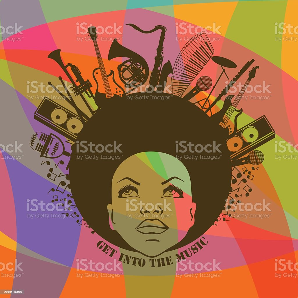Woman and musical instruments vector art illustration