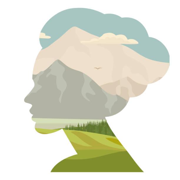 illustrazioni stock, clip art, cartoni animati e icone di tendenza di donna e natura, doppia esposizione, silhouette del viso con foresta, cielo, montagna rocciosa. vettore - woman portrait forest