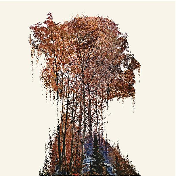illustrazioni stock, clip art, cartoni animati e icone di tendenza di donna e natura - woman portrait forest