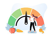 Woman and obese chart scales isolated flat vector illustration. Cartoon person on diet trying weight control with BMI. Body mass index and fitness exercise concept