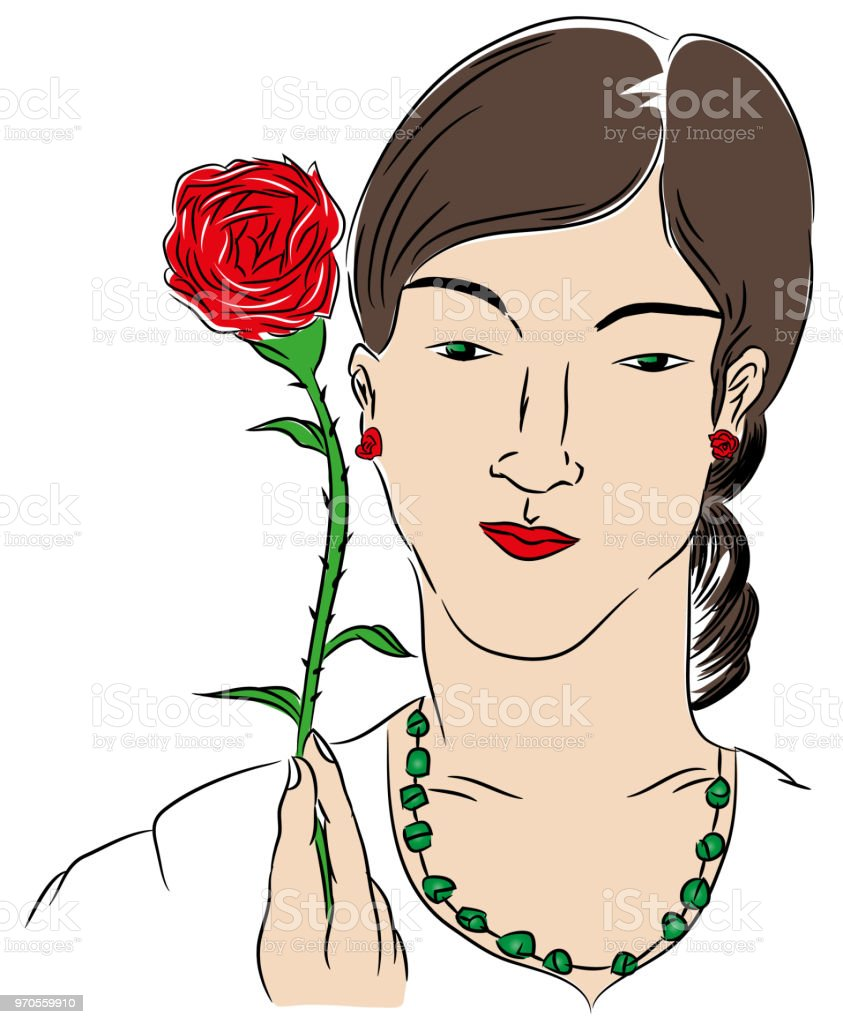 Kadın ve gül. royalty-free kadın ve gül stok vektör sanatı & abd'nin daha fazla görseli