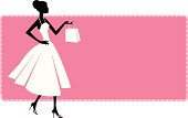 A woman on a pink banner, holding a shopping bag.