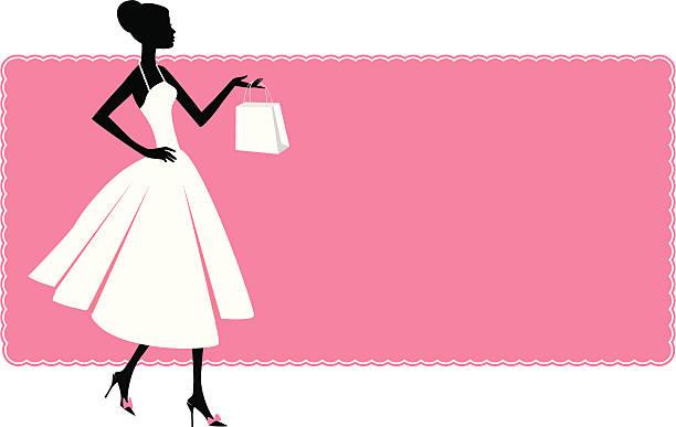 Woman and shopping bag vector art illustration
