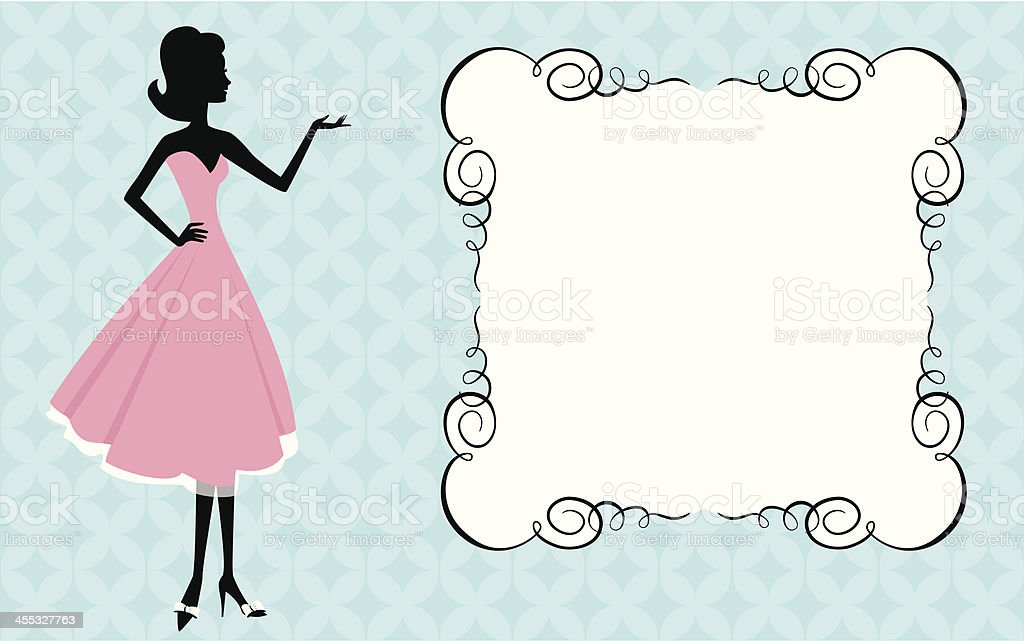 Woman and sign vector art illustration