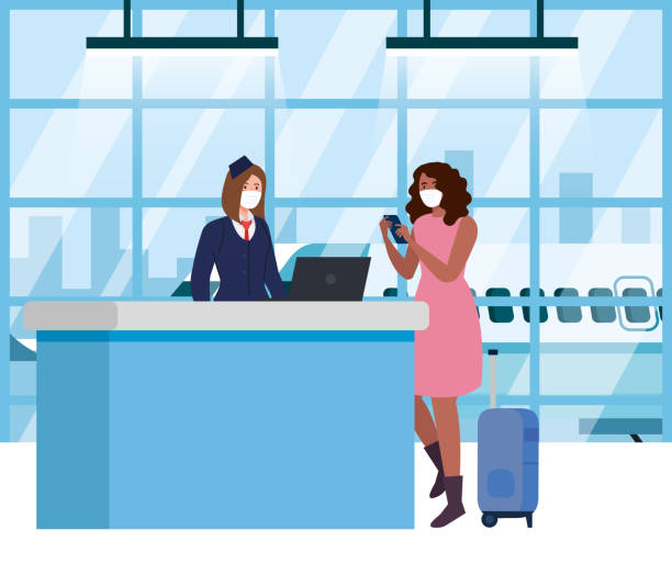 woman and stewardess wearing medical protection mask in airport terminal, traveling by airplane during coronavirus pandemic, prevention covid 19 vector art illustration