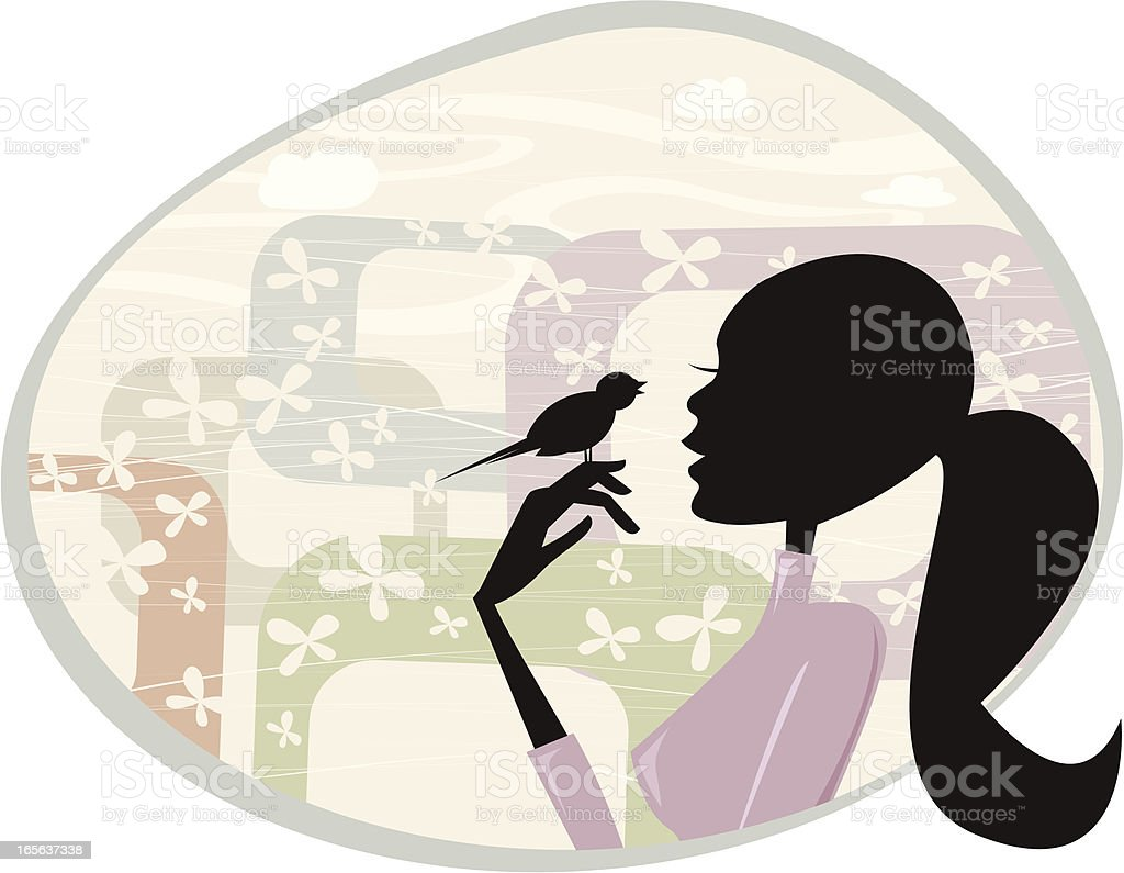 Woman and the Bird vector art illustration