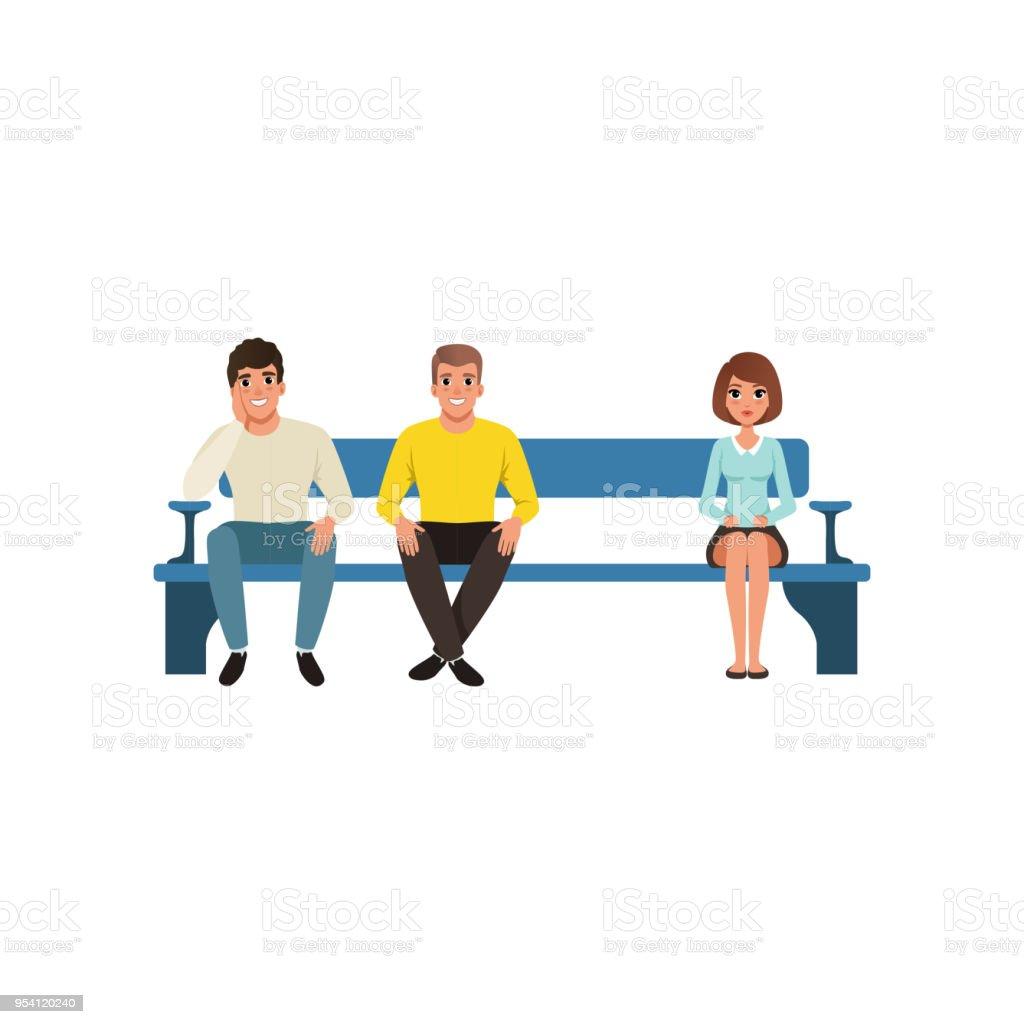 Frau und zwei Männer sitzen auf blaue Bank ihre Warteschlange warten. Wartezimmer und Rezeption. Flache Vektor-design – Vektorgrafik