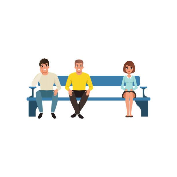bildbanksillustrationer, clip art samt tecknat material och ikoner med kvinna och två män sitter på blå bänk väntar deras kö. väntrum och receptionen. flat vektor design - bench