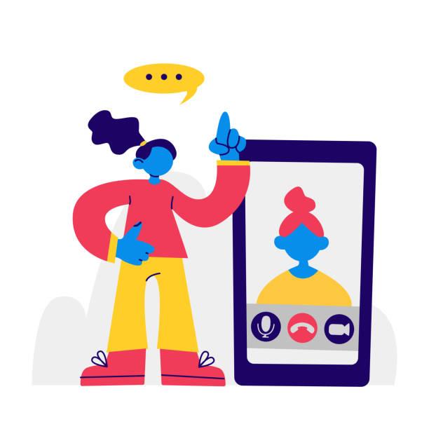 illustrazioni stock, clip art, cartoni animati e icone di tendenza di donna e video chat, chiama l'app su smartphone. illustrazione vettoriale azionario piatto con persona femminile. videochiamata, donna sullo schermo dello smartphone. concetto: istruzione, lavoro a distanza, studio online, web, internet - woman chat video mobile phone