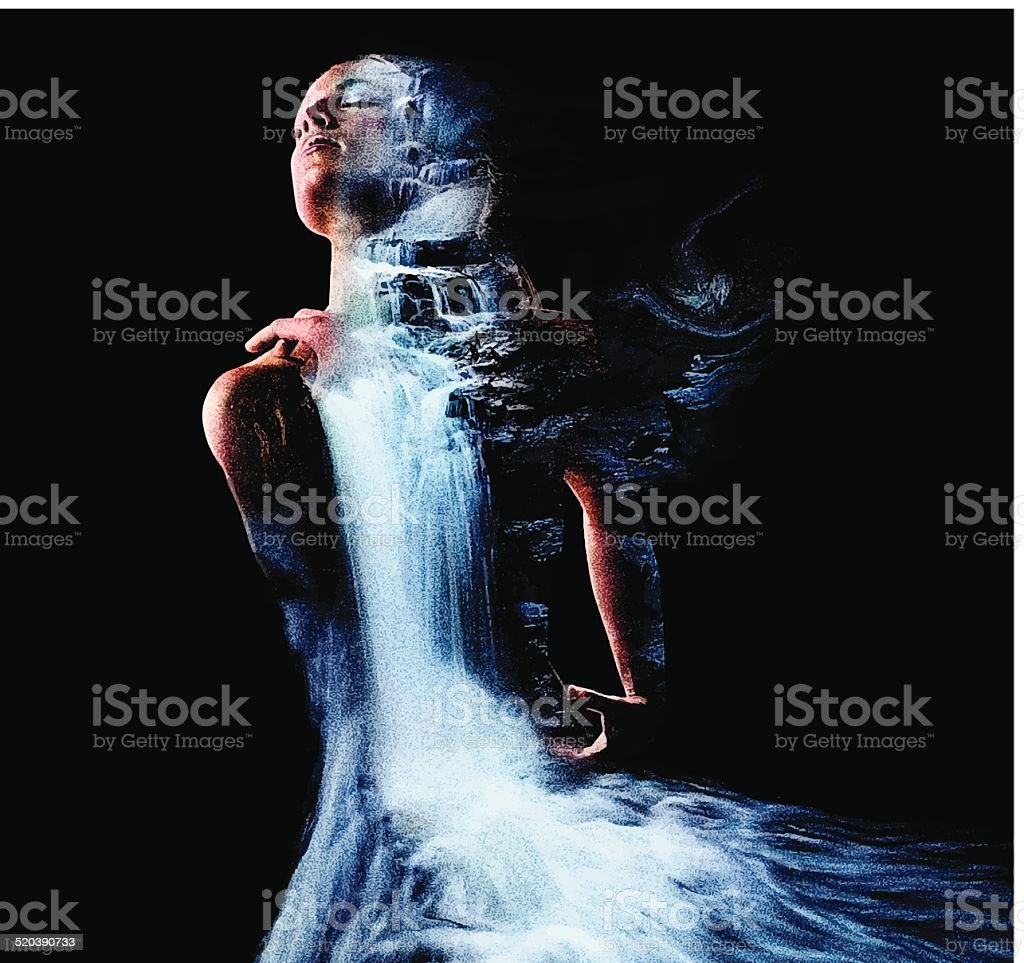 Woman and Waterfall vector art illustration