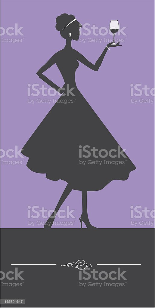 Woman and wine glass vector art illustration