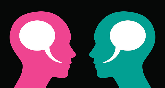 Vector illustration of two profiles of women with speech bubbles inside their heads.