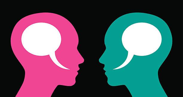 ilustrações, clipart, desenhos animados e ícones de mulher e mulher discurso bolhas - cabeça