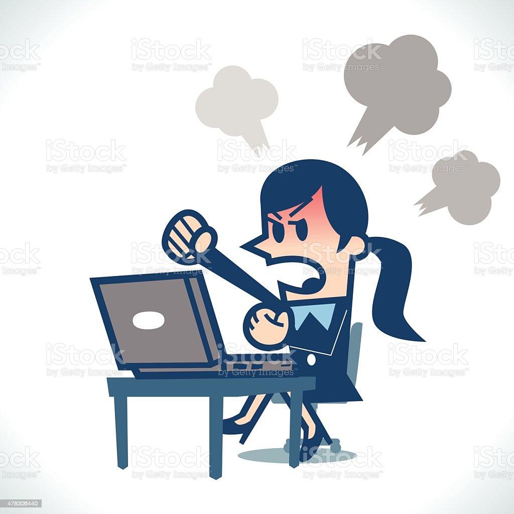 Woman angry at computer vector art illustration