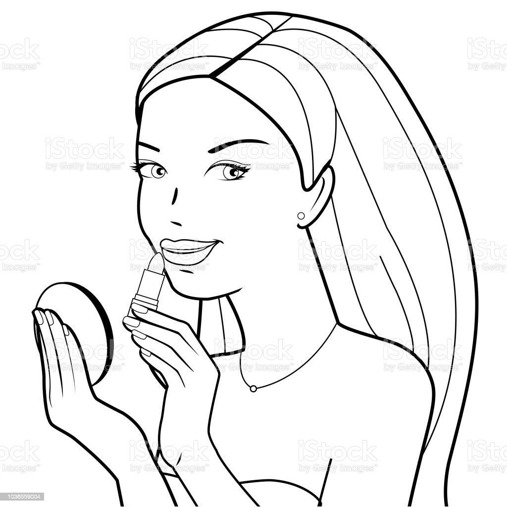 Kadın Ruj Geçerlidir Siyah Ve Beyaz Kitap Sayfa Boyama Stok Vektör