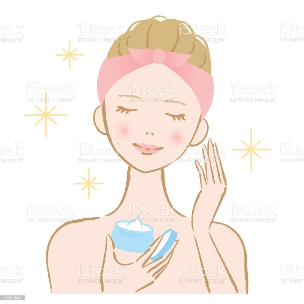 woman applying cosmetic cream - Royalty-free Face Cream stock vector
