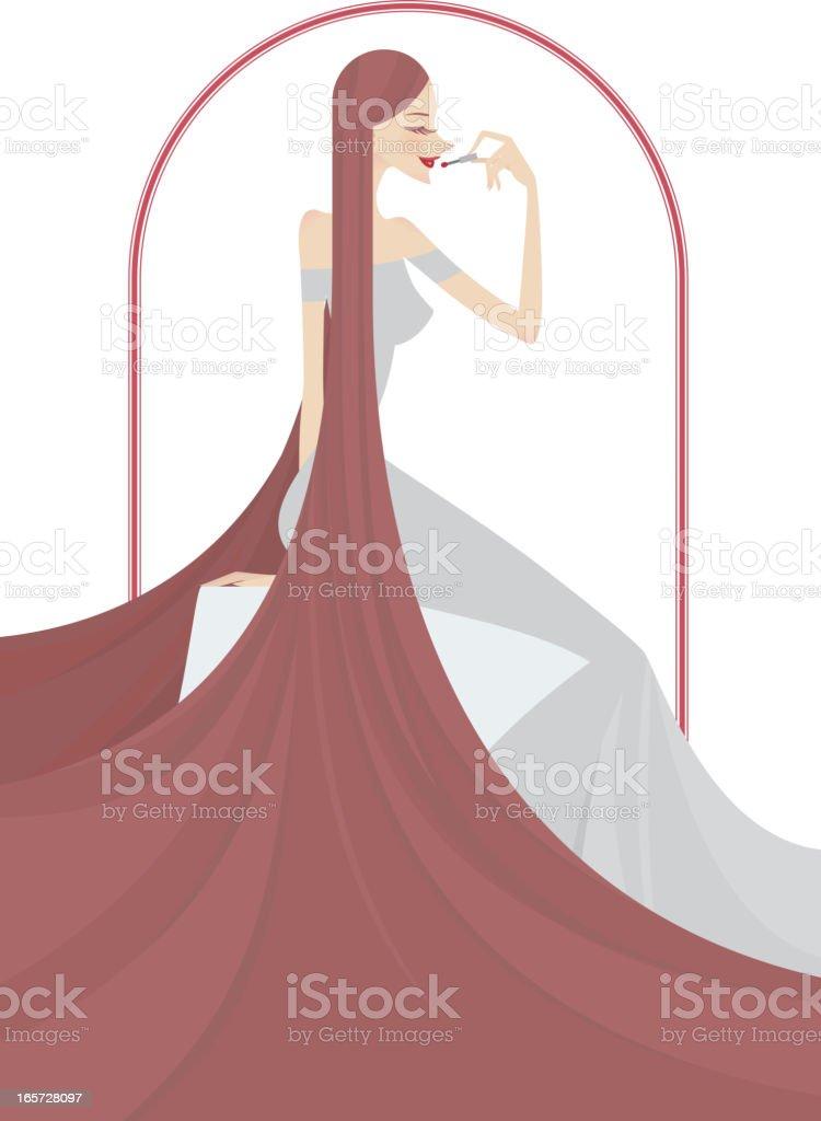 Woman Applying Lipstick royalty-free stock vector art