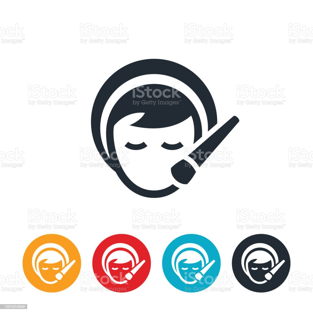 Woman Applying Makeup To Face Icon vector art illustration