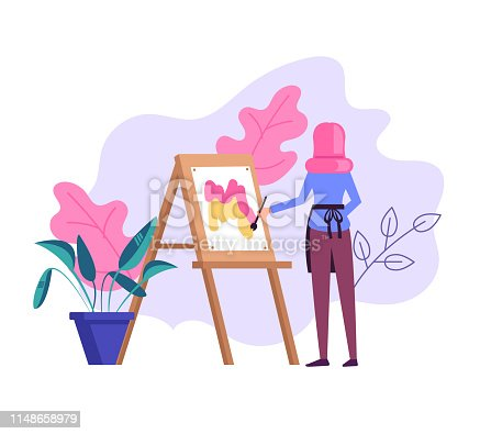 Woman artist character drawing picture. Vector flat cartoon graphic design