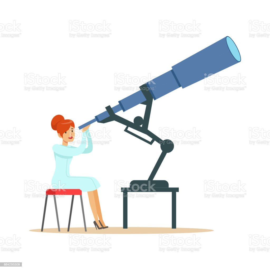 Woman astronomer looking through telescope royalty-free woman astronomer looking through telescope stock vector art & more images of adult