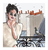 Woman at a balcony over aerial panoramic view of the roofs in Paris - vector illustration