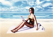 Engraving illustration of young woman at beach with digital tablet.