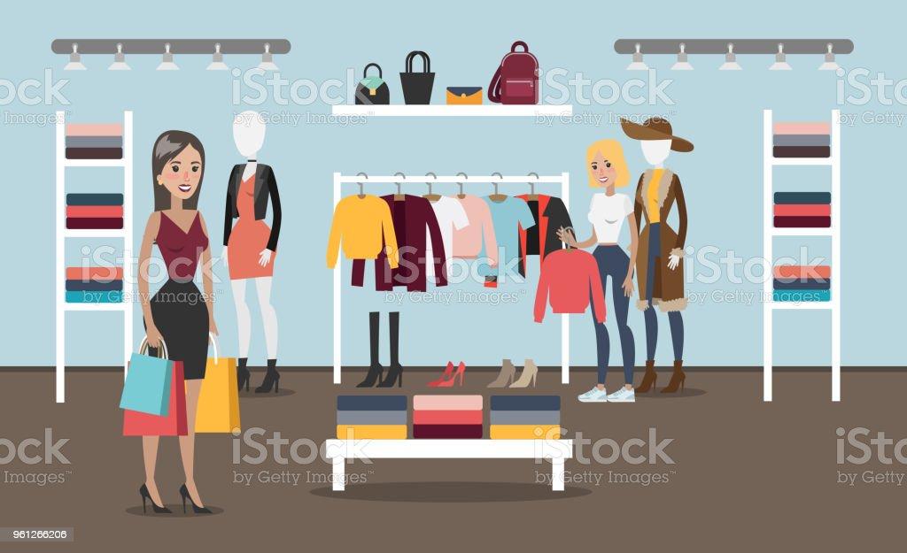 27b8330c7f6004 Frau am Bekleidungsgeschäft. Lizenzfreies frau am bekleidungsgeschäft stock  vektor art und mehr bilder von accessoires