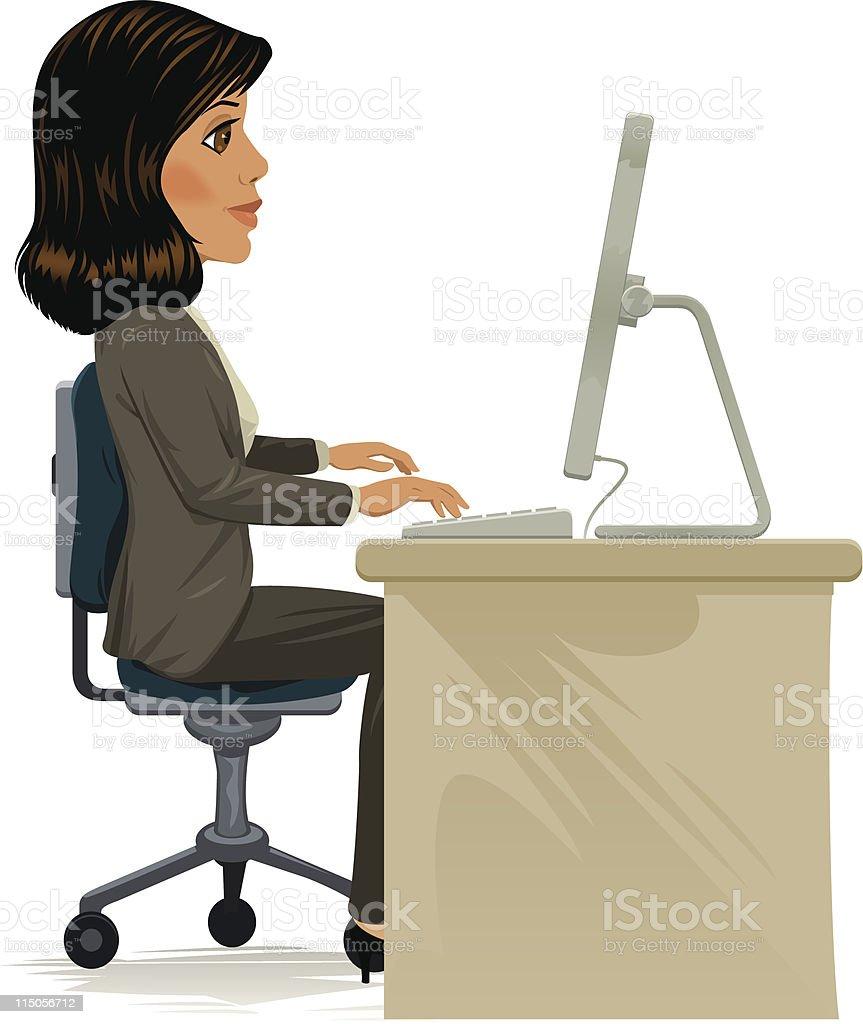 Woman at computer royalty-free stock vector art