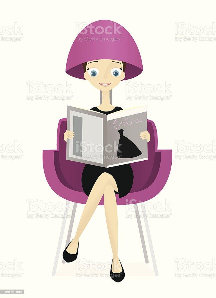 Woman at Hair Salon vector art illustration